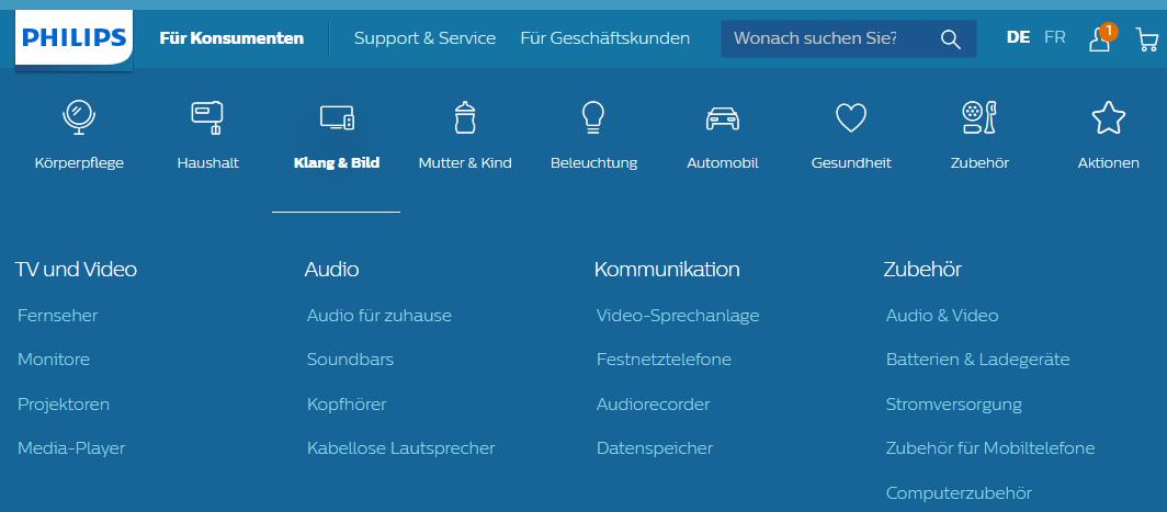 Die Startseite von Philips